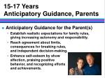 15 17 years anticipatory guidance parents
