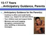 15 17 years anticipatory guidance parents14