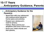 15 17 years anticipatory guidance parents15