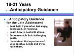 18 21 years anticipatory guidance18