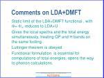 comments on lda dmft