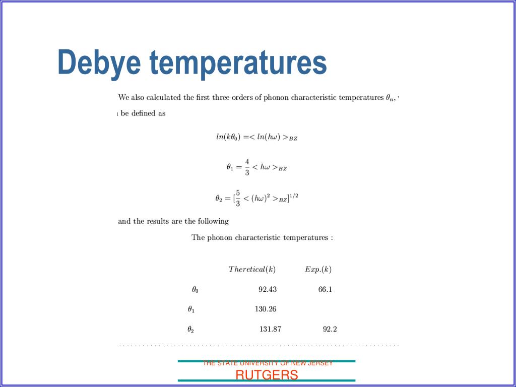 Debye temperatures