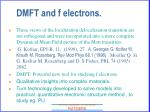 dmft and f electrons