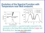 evolution of the spectral function with temperature near mott endpoint