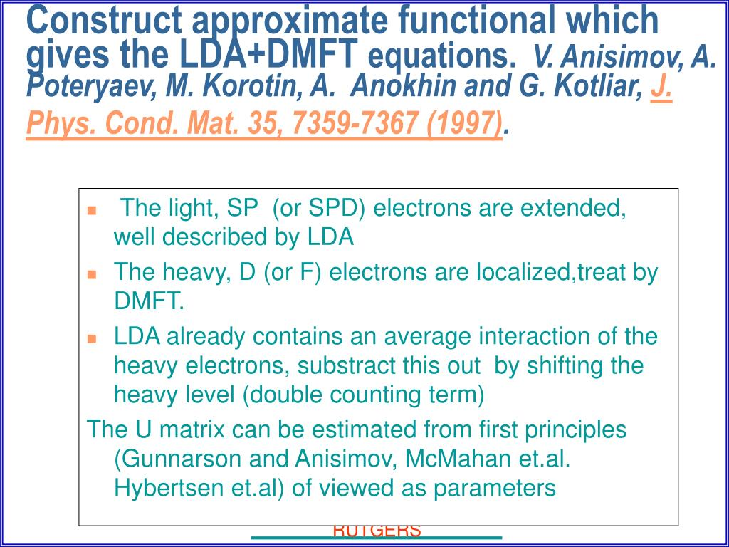 The light, SP  (or SPD) electrons are extended, well described by LDA