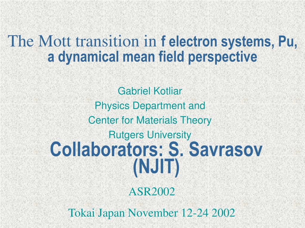 The Mott transition in