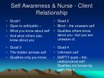 self awareness nurse client relationship