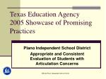 texas education agency 2005 showcase of promising practices