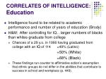 correlates of intelligence education