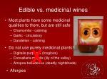 edible vs medicinal wines