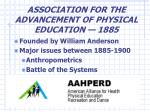 association for the advancement of physical education 1885