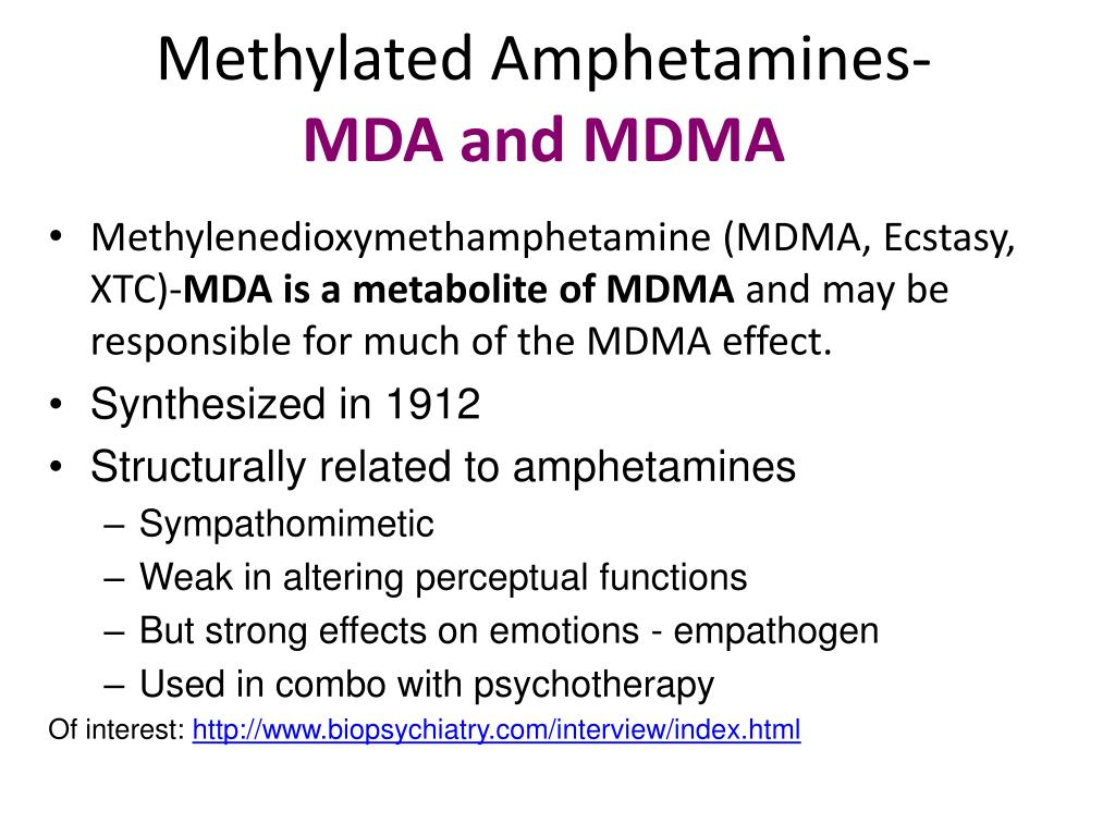 methylated amphetamines mda and mdma l.