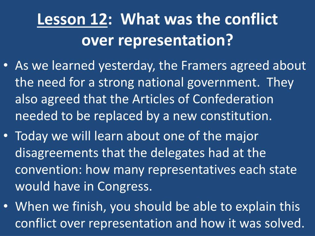 lesson 12 what was the conflict over representation l.