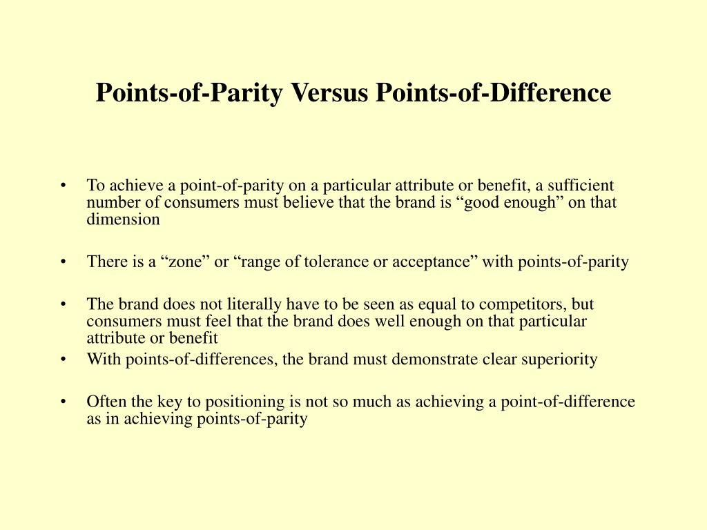 Points-of-Parity Versus Points-of-Difference