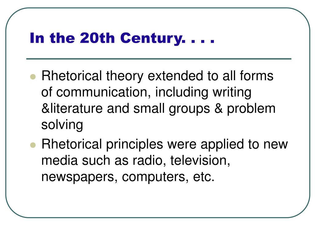 In the 20th Century. . . .