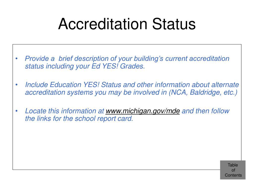 Accreditation Status