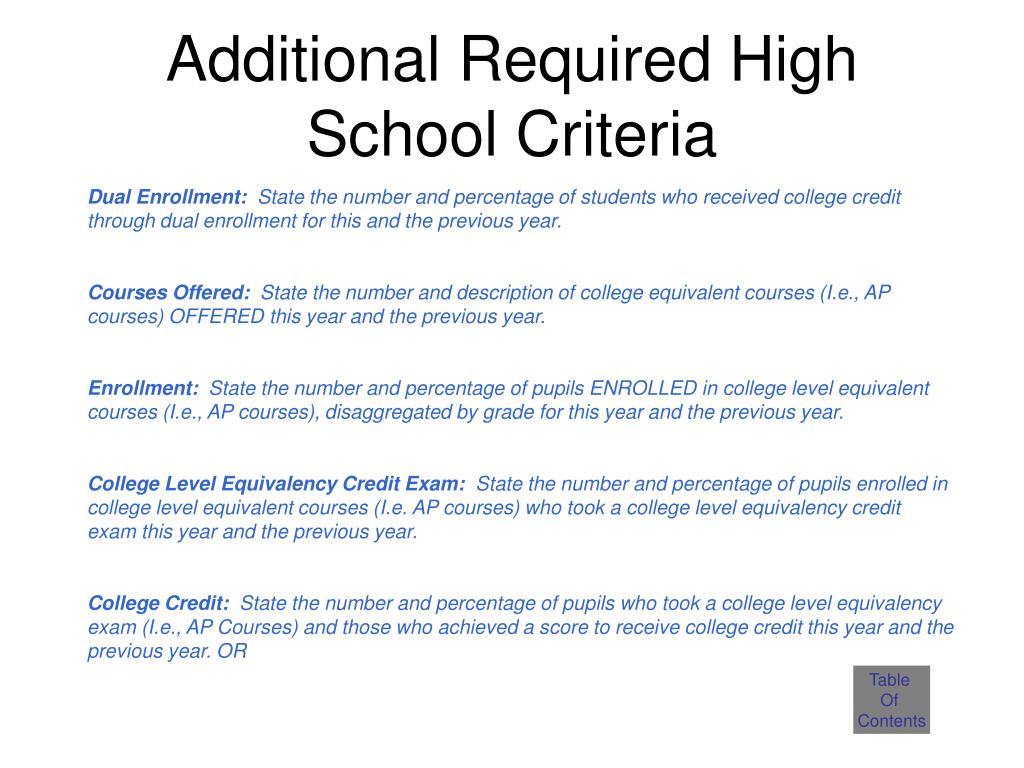 Additional Required High School Criteria