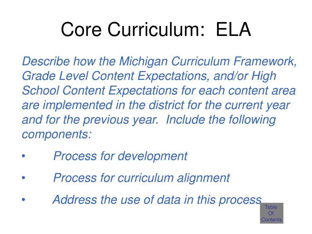 Core Curriculum:  ELA