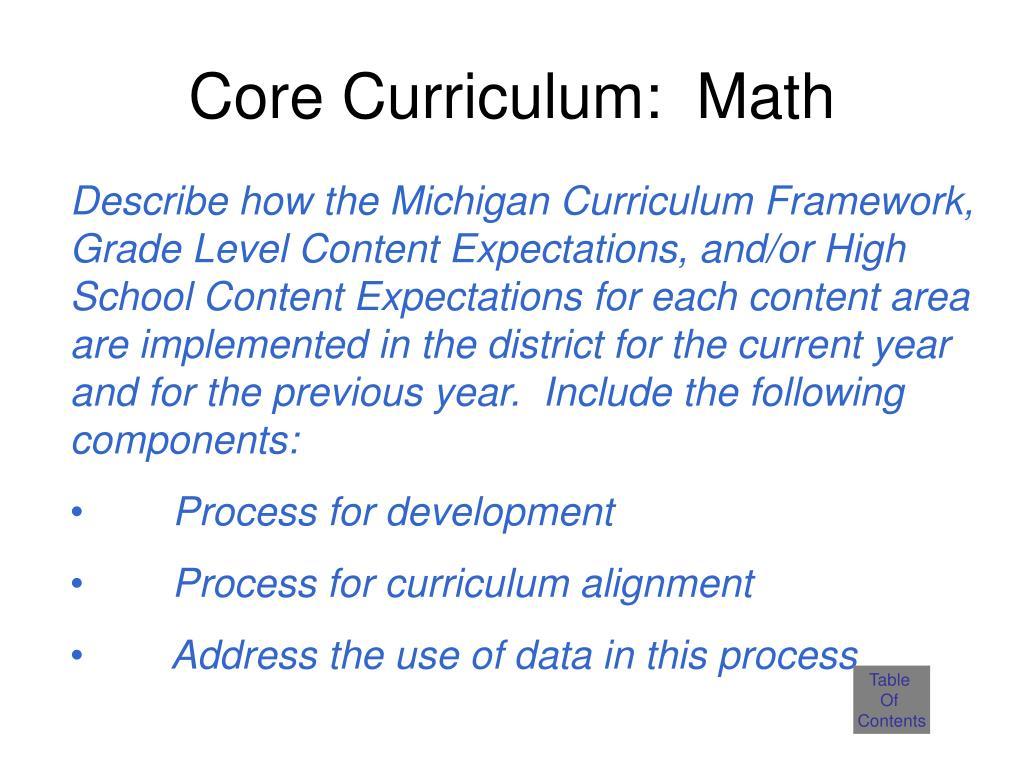 Core Curriculum:  Math