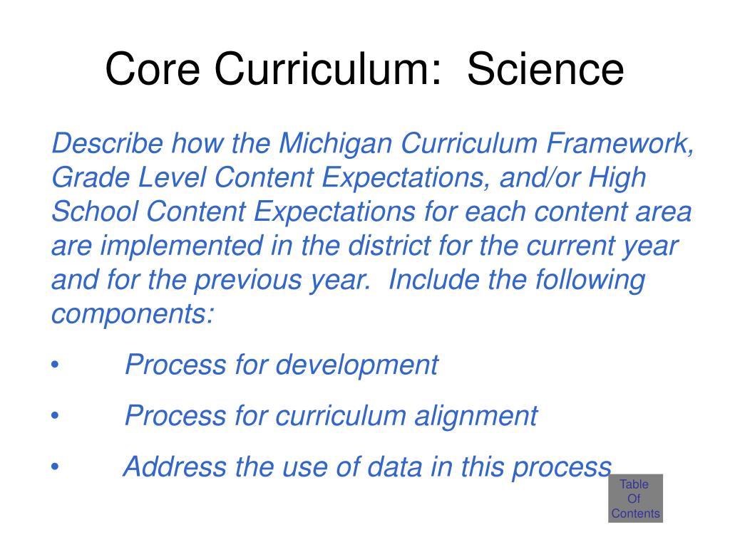 Core Curriculum:  Science