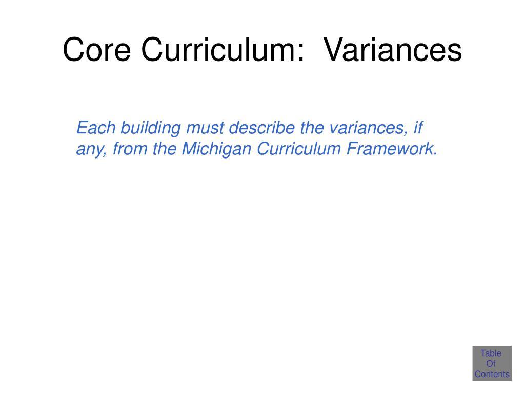 Core Curriculum:  Variances