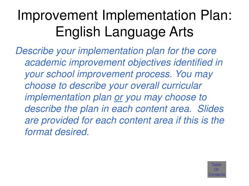 Improvement Implementation Plan: English Language Arts