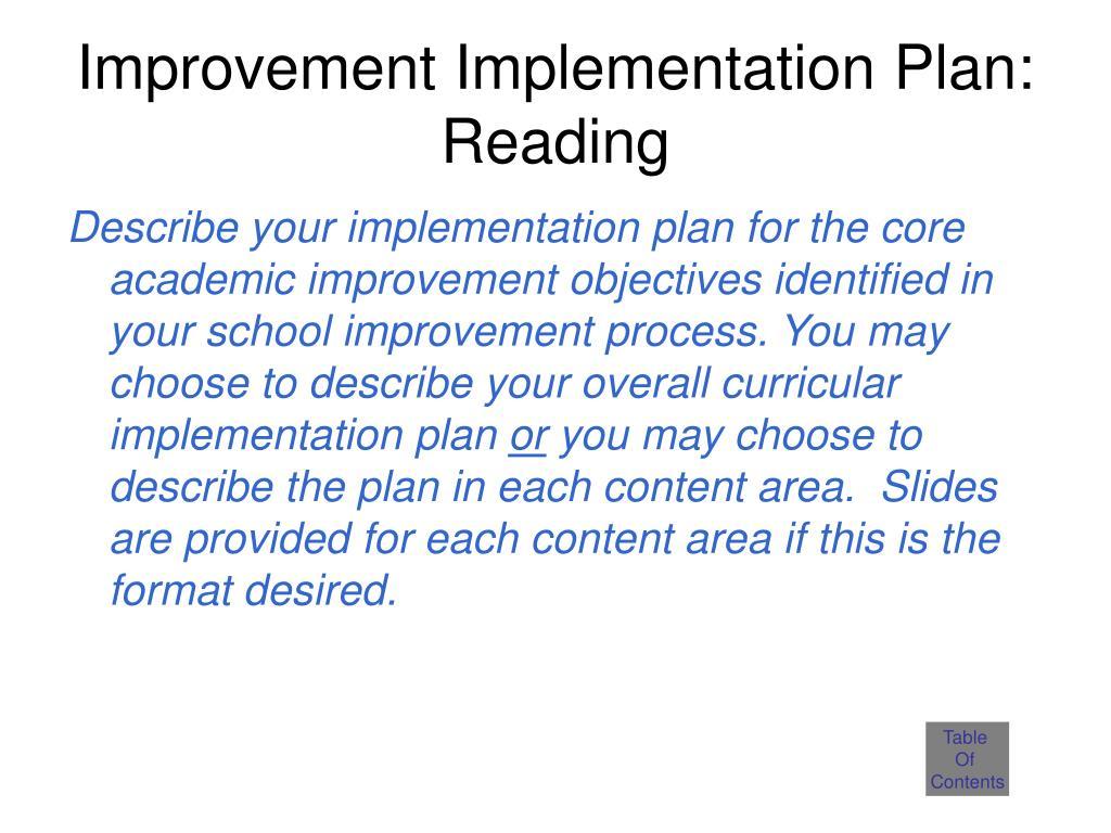 Improvement Implementation Plan: Reading