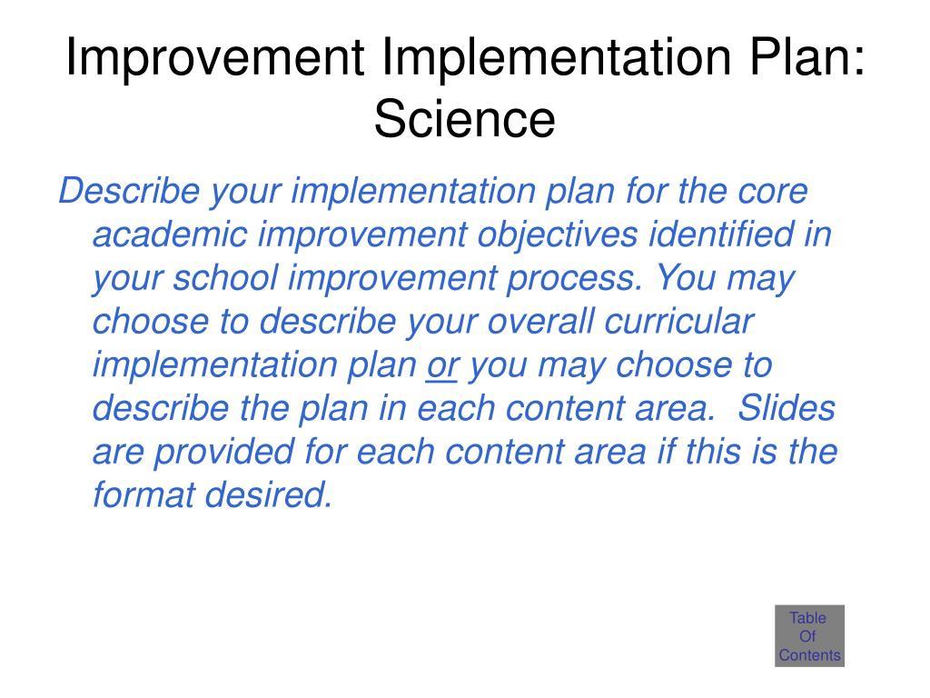 Improvement Implementation Plan: Science