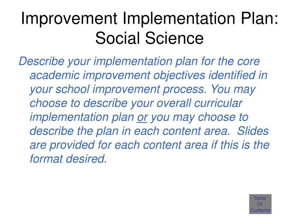 Improvement Implementation Plan: Social Science