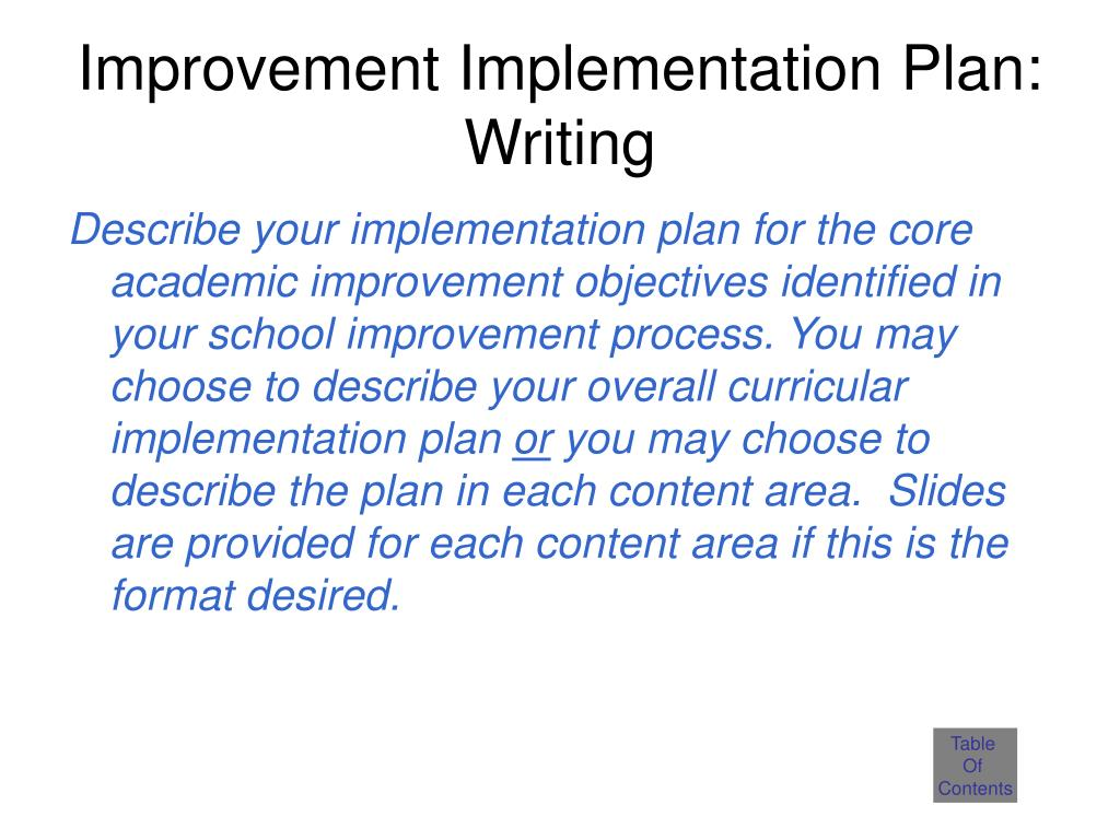 Improvement Implementation Plan: Writing