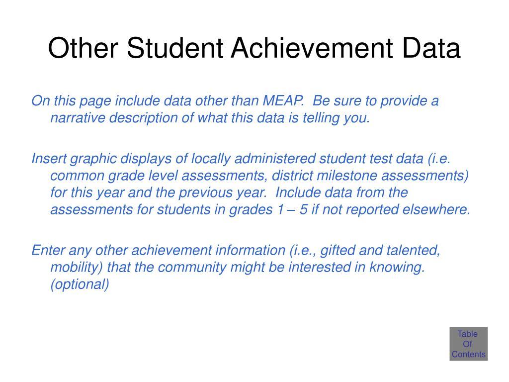 Other Student Achievement Data