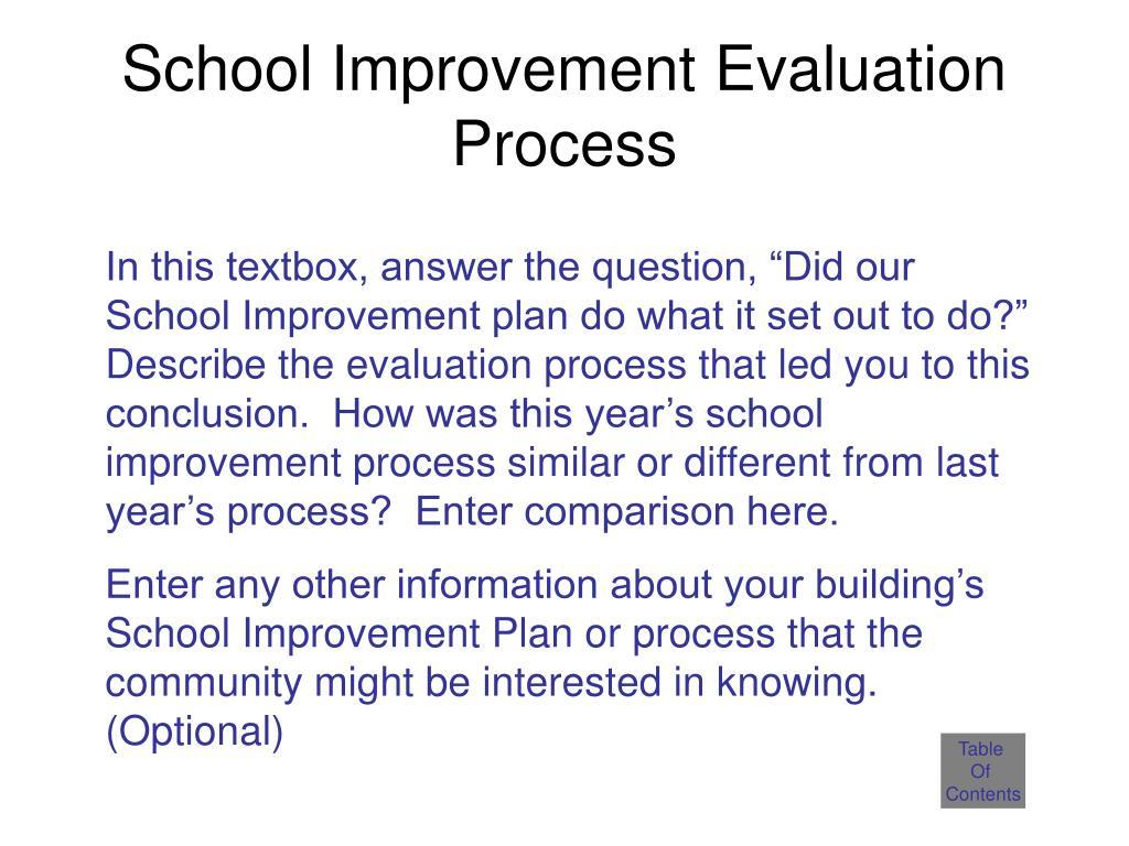 School Improvement Evaluation Process