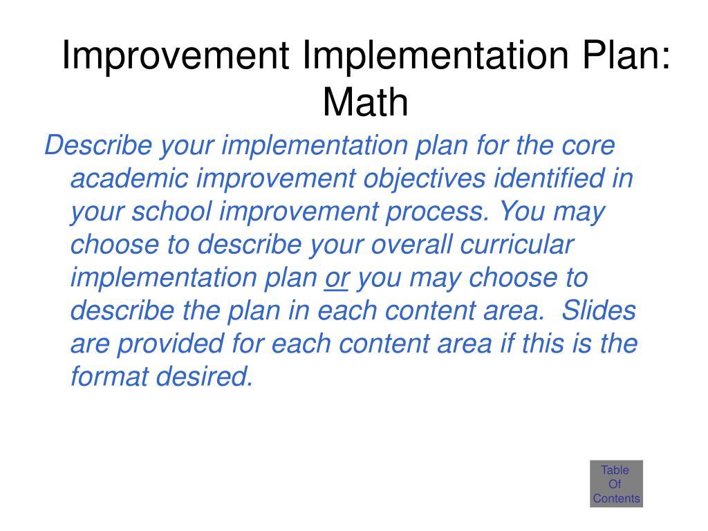 Improvement Implementation Plan: Math