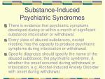 substance induced psychiatric syndromes