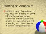 starting an analysis iv