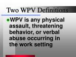 two wpv definitions