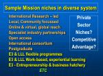sample mission niches in diverse system