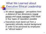 what we learned about executive ethical leadership