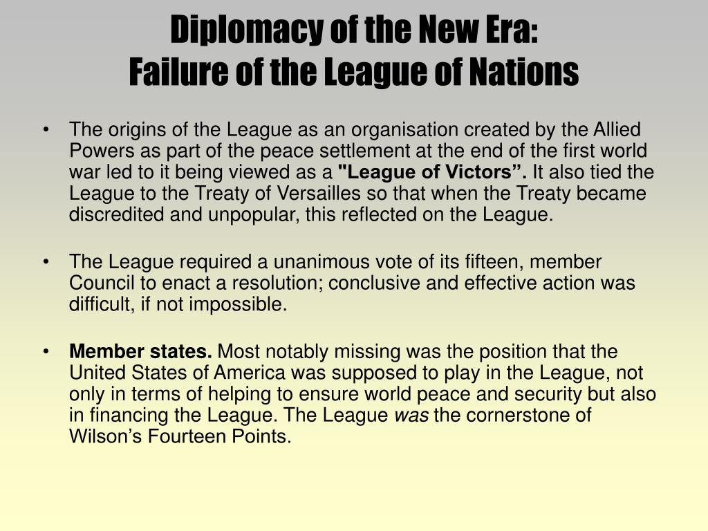 factors contributing to the failure of the league of nations The failure of the league of nations also contributed significantly to the second world war after wwi ended, countries such as canada, france and britain.