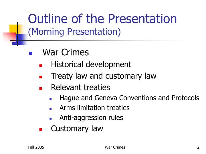 Outline of the presentation morning presentation