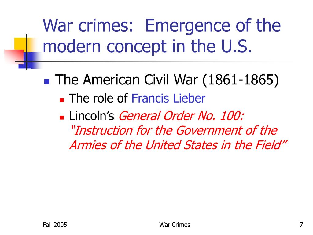 War crimes:  Emergence of the modern concept in the U.S.