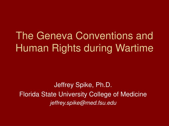 the geneva conventions and human rights during wartime n.