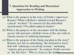 7 questions for reading and discussion approaches to writing