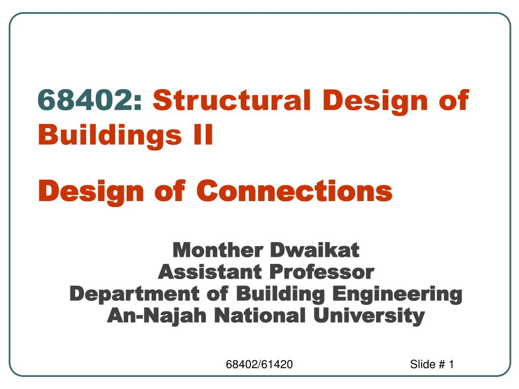 68402 structural design of buildings ii l.