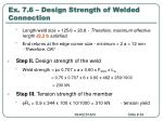 ex 7 6 design strength of welded connection84