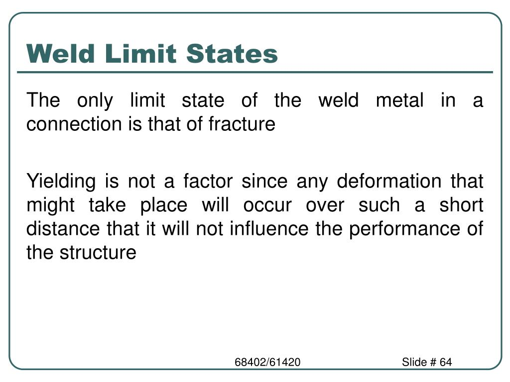 Weld Limit States