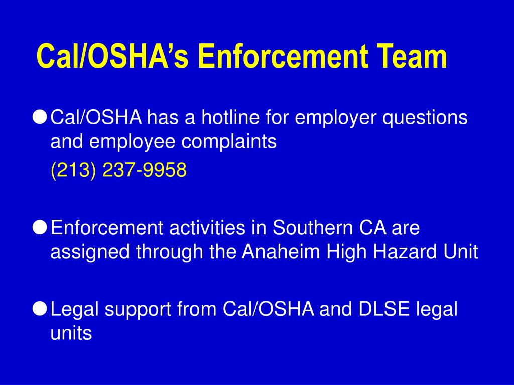 Cal/OSHA's Enforcement Team