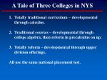 a tale of three colleges in nys