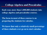 college algebra and precalculus