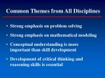 common themes from all disciplines